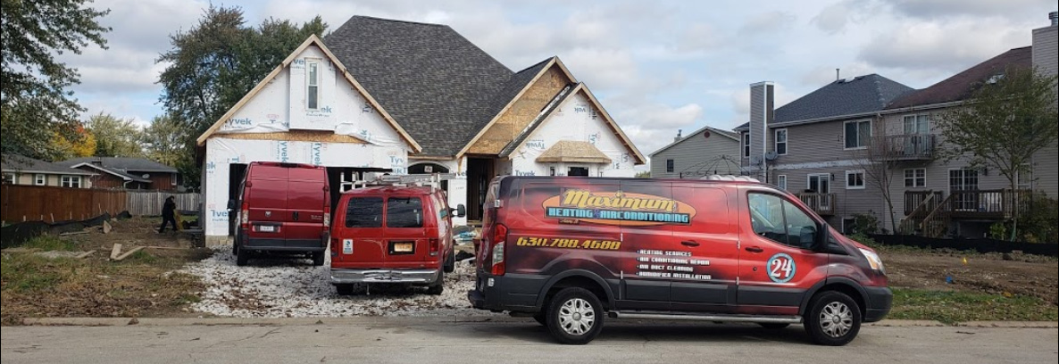 Maximum vans installing heating and air conditioning in an Aurora new construction home