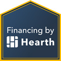 Hearth logo, financing company to afford heating and air conditioning service by Maximum in Aurora, Il