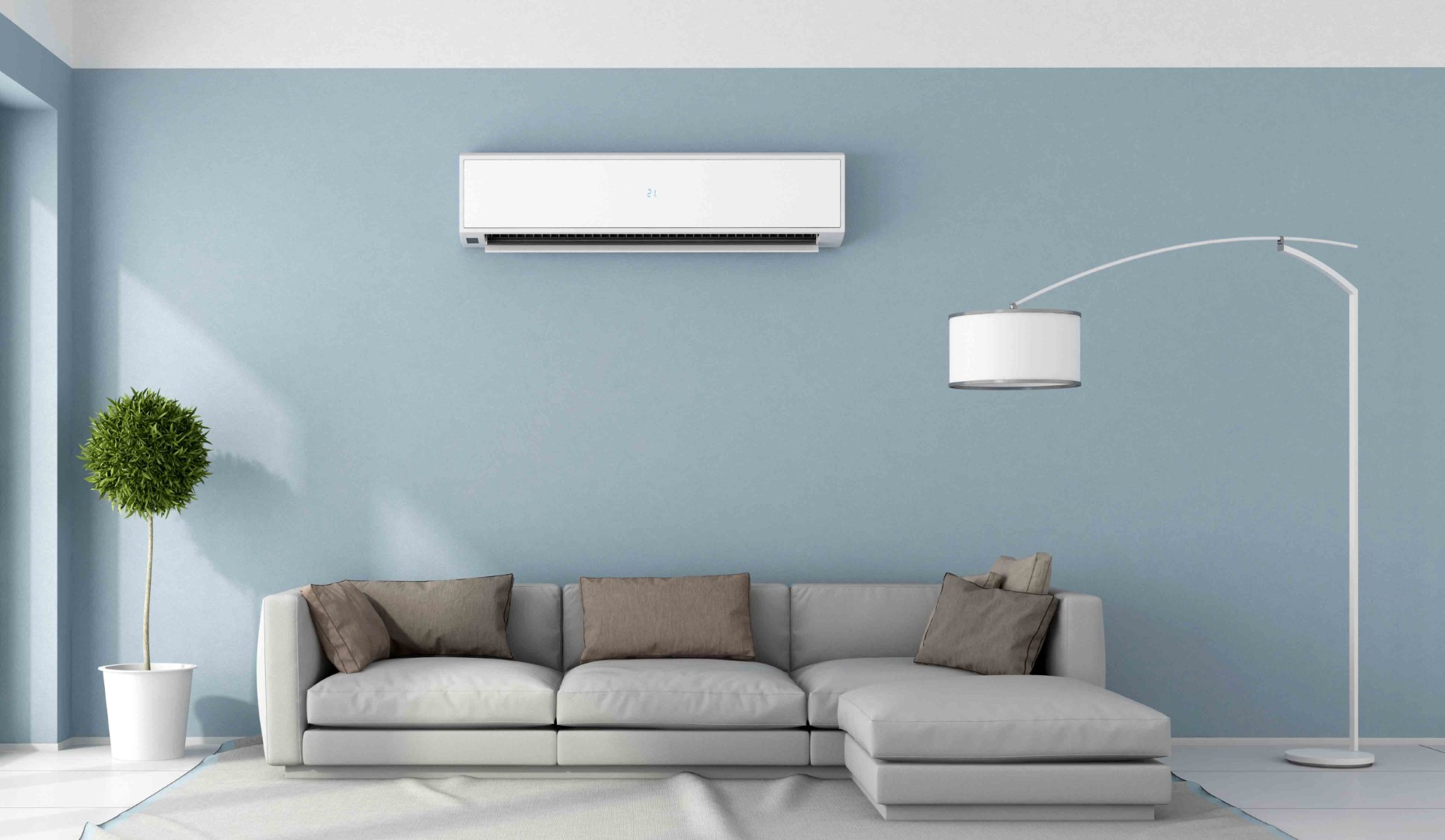 Photo of a living room with a ductless mini split installed, an easy solution for heating and cooling small spaces provided by Maximum Heating & Air in Aurora